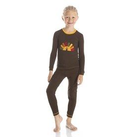 Kickee Pants Bark Turkey LS Pajama Set