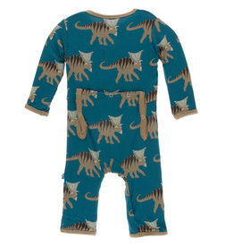 Kickee Pants Print Coverall Zipper Heritage Blue Kosmoceratops