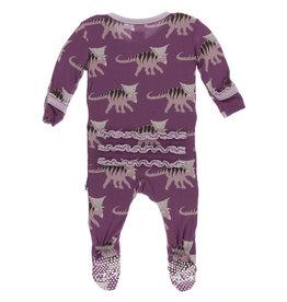 Kickee Pants Print Muff. Ruff. Zipper Footie Amethyst Kosmoceratops