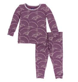Kickee Pants Print LS Pajama Set Shell Fossils