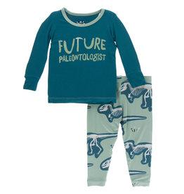 Kickee Pants Print LS Pajama Set Shore Future Paleontologist
