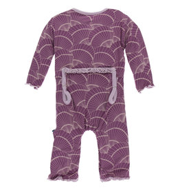 Kickee Pants Print Muff. Ruff. Coverall Snaps Shell Fossils