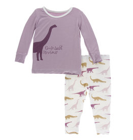 Kickee Pants Print LS Pajama Set Natural Goodnight Dinosaur