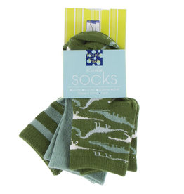 Kickee Pants Sock Set (Paleontology Fauna Stripe/Shore/Moss Sauropods), 12/24M