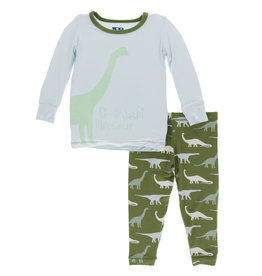 Kickee Pants Print LS Pajama Set Moss Goodnight Dinosaur