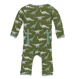 Kickee Pants Print Coverall Zipper Moss Sauropods