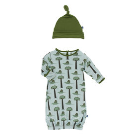 Kickee Pants Print Gown & Knot Hat Set Dimetrodon