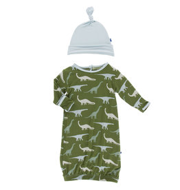 Kickee Pants Print Gown & Knot Hat Set Moss Sauropods