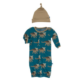 Kickee Pants Print Gown Converter& Knot Hat Set Heritage Blue Kosmoceratops