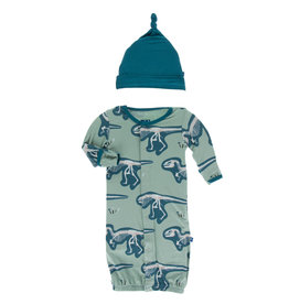 Kickee Pants Print Gown Converter& Knot Hat Set Shore T-Rex Dig