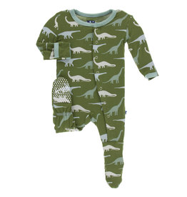 Kickee Pants Print Footie Snaps Moss Sauropods