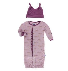 Kickee Pants Print Ruffle Gown Converter & Knot Hat Set Cooksonia