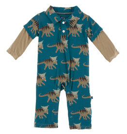 Kickee Pants Print LS Double Layer Polo Romper Heritage Blue Kosmoceratops