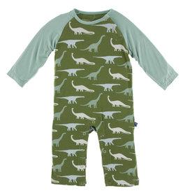 Kickee Pants Print LS Raglan Romper Moss Sauropods