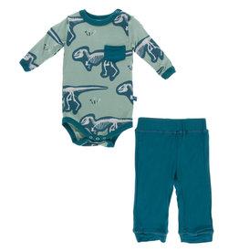 Kickee Pants Print LS Pocket Pant Outfit Set Shore T-Rex Dig