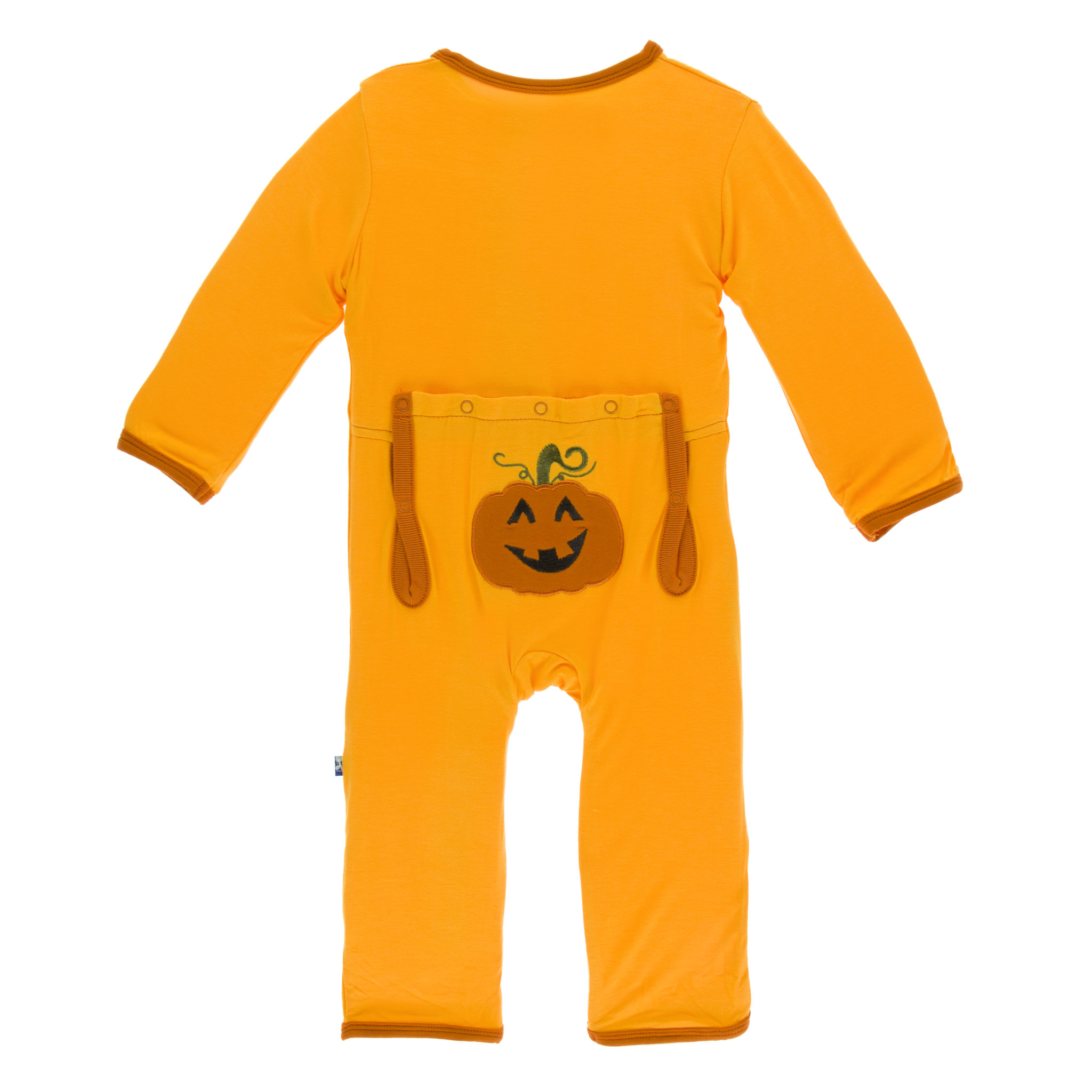 Kickee Pants Holiday Layette Applique Coverall Tamarin Pumpkin