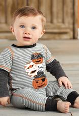 Mud Pie Stacked Pumpkin Boy Halloween Romper