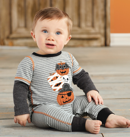 Mud Pie Stacked Pumpkin Boy Halloween Romper