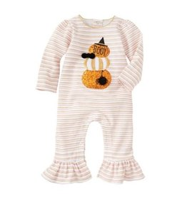 Mud Pie Stacked Pumpkin Girl Halloween Romper