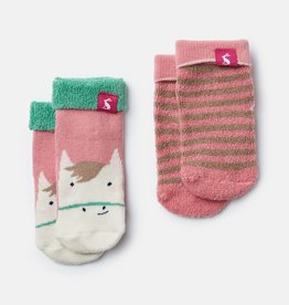 Joules Terry Socks Pink Horse Stripe