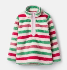 Joules Merridie Half Zip Fleece Pink Multi Stripe