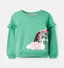 Joules Tiana Shirt Green Sequin Rainbow