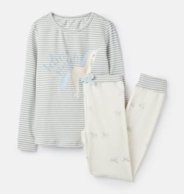 Joules Sleepwell LS PJ Set Silver Believe Unicorn