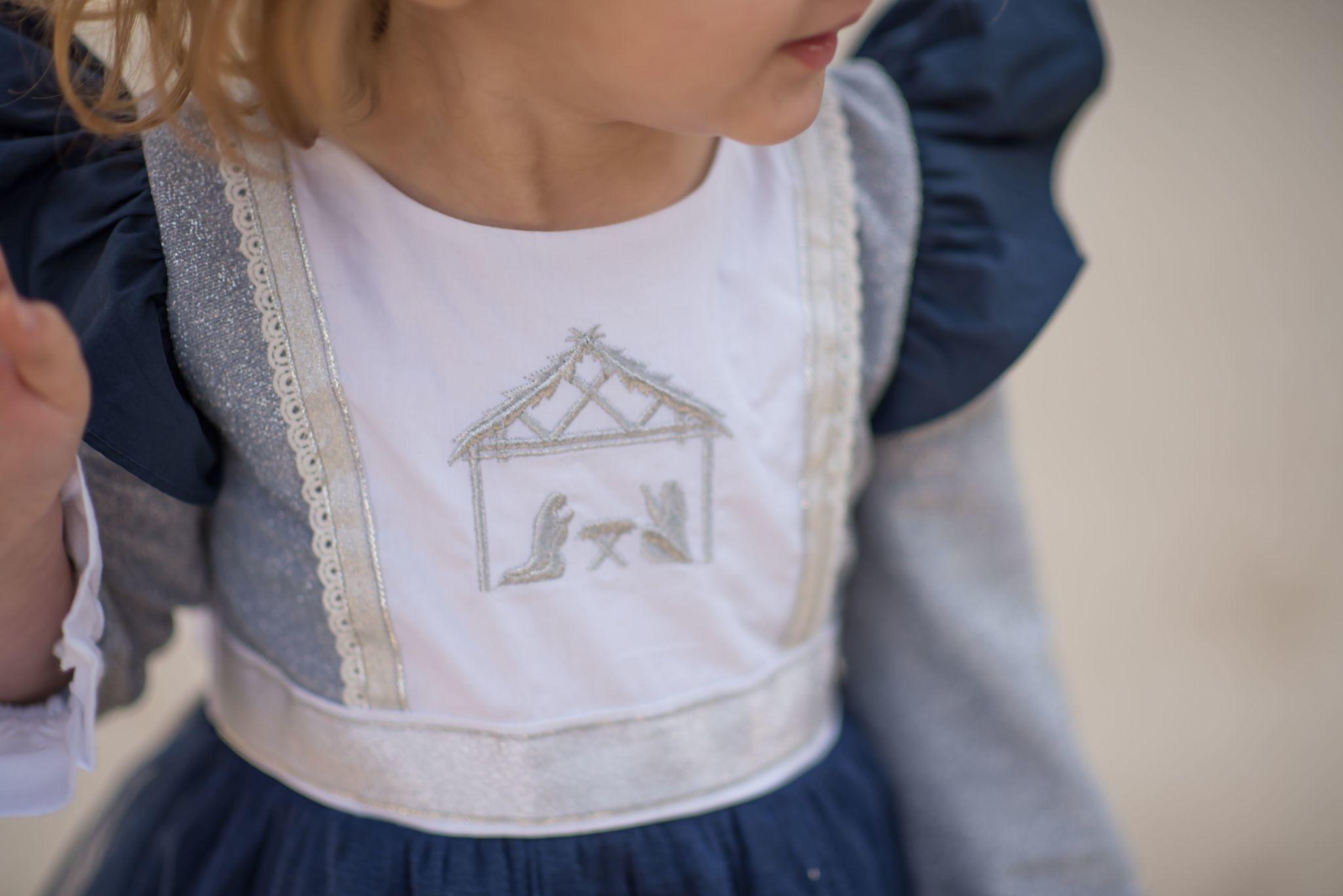 Evie's Closet Nativity Embroidered Dress