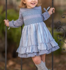 Evie's Closet Blue/Grey Smocked Dress