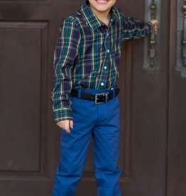Evie's Closet Boys Navy/Green Plaid Shirt