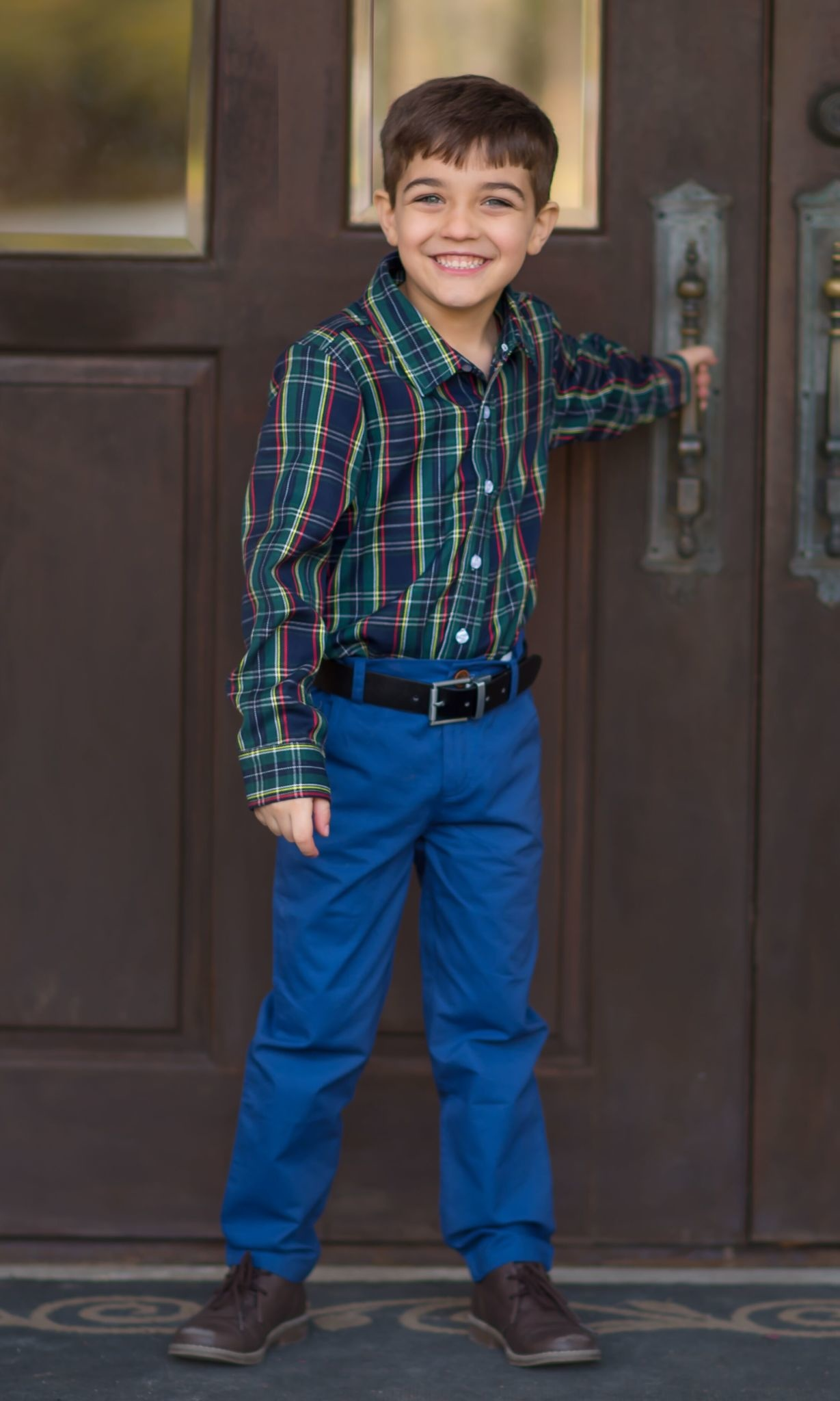 Evie's Closet Boys Navy/Green Plaid Shirt