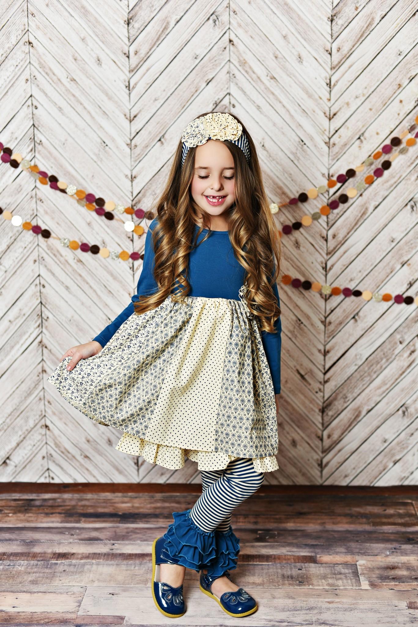 Serendipity Into the Woods Ruffle Dress w/ Stripe Legging