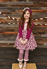 Serendipity Sugarplum Ruffle Dress w/ Stripe Legging