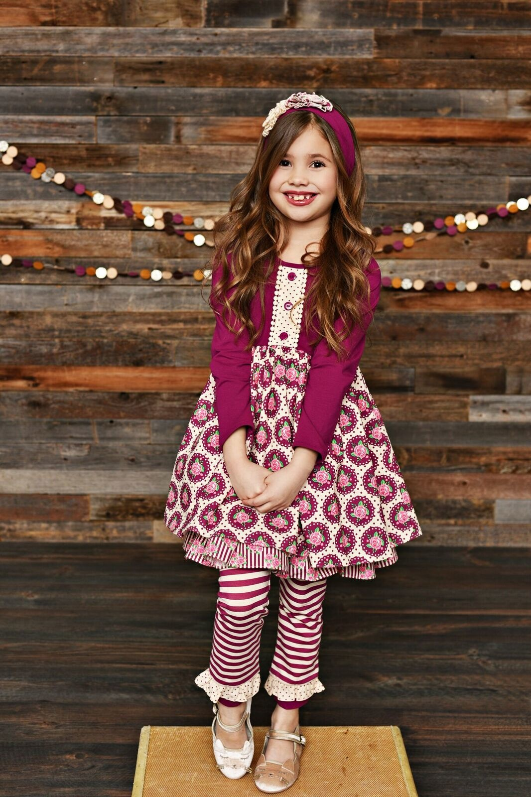 Serendipity Sugarplum Ruffle Dress w/ Stripe Legging