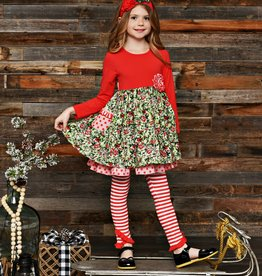 Serendipity Winter Berry Dress w/ Stripe Legging