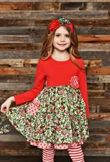 Serendipity Winter Berry Dress w/ Stripe Legging