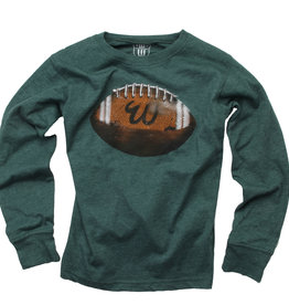 Wes And Willy LS Football Tee Evergreen