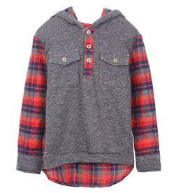 Fore!! Axel & Hudson Flannel Plaid Henley Hoodie