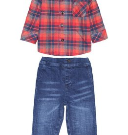 Fore!! Axel & Hudson Plaid Flannel Shirt w/ Chambray Detail Set