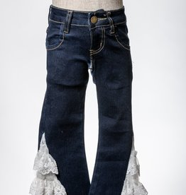M. L. Kids Dark Denim Lace Bell Bottom Jeans