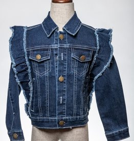 M. L. Kids Ruffle Detail Dark Denim Jacket
