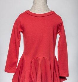 M. L. Kids Burgundy Hanky Hem Dress