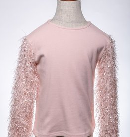 M. L. Kids Pink Shaggy Sleeve Top