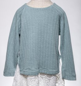 M. L. Kids Teal Green Lace Hem Sweater Tunic