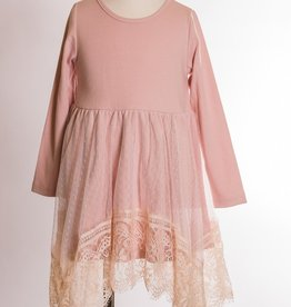 M. L. Kids Dusty Pink Lace Overlay Dress