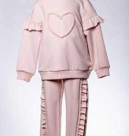 M. L. Kids Pink Heart Jogger 2PC Set
