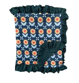 Kozi & Co Sunflowers Blanket with Ruffles 34 x 44