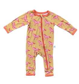 Kozi & Co Pink Mustangs Zipper Coverall