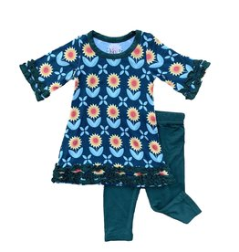Kozi & Co Sunflowers Tunic Dress & Legging Set