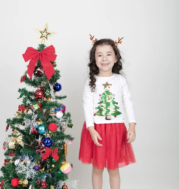 For Beloved Children Christmas Tree Top & Red Skirt Set